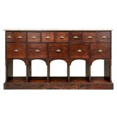 Fine Antique Oak Marble Top Apothecary Cabinet