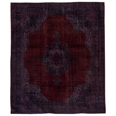 Fine Antique Oushak Rug, Ruby Red Field, Navy and Purple Outer Field and Borders