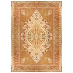 Fine Antique Oushak Turkish Rug, Hand Knotted, circa 1920s