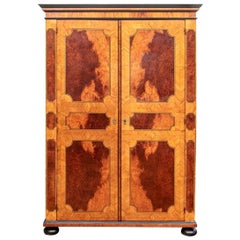 Fine Antique Parquetry Armoire with Custom Dry Bar Interior