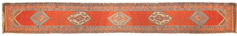 Hand-Knotted Fine Antique Persian Bakshayesh Runner Rug, Hand Knotted, circa 1890 For Sale