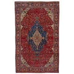 Fine Antique Persian Farahan Sarouk Carpet, Red Outer Field, Amazing Rich Colors