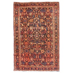 Fine Antique Persian Farahan with All-Over Design in Navy and Multi Colors