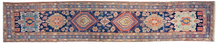 Fine antique Persian Heriz/Serapi runner rug, hand knotted, circa 1890  Design: Diamonds  Heriz rugs are one of the most famous rugs from Iran, because of their very unique and distinguishable style. Heriz is a city located in northwestern Iran,
