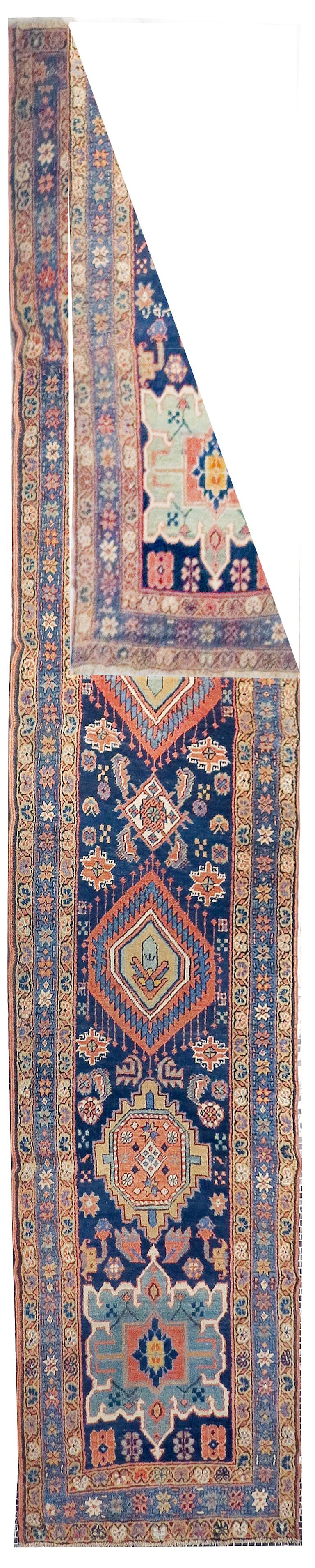 Heriz Serapi Fine Antique Persian Heriz/Serapi Runner Rug, Hand Knotted, circa 1890 For Sale