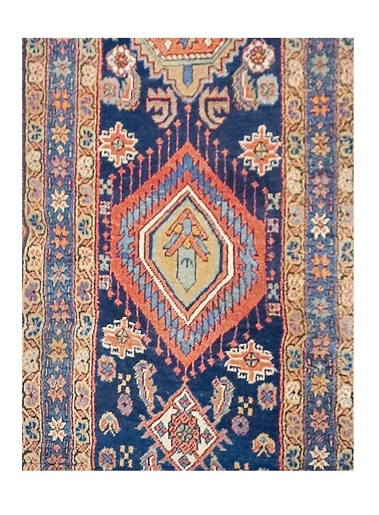 Hand-Knotted Fine Antique Persian Heriz/Serapi Runner Rug, Hand Knotted, circa 1890 For Sale