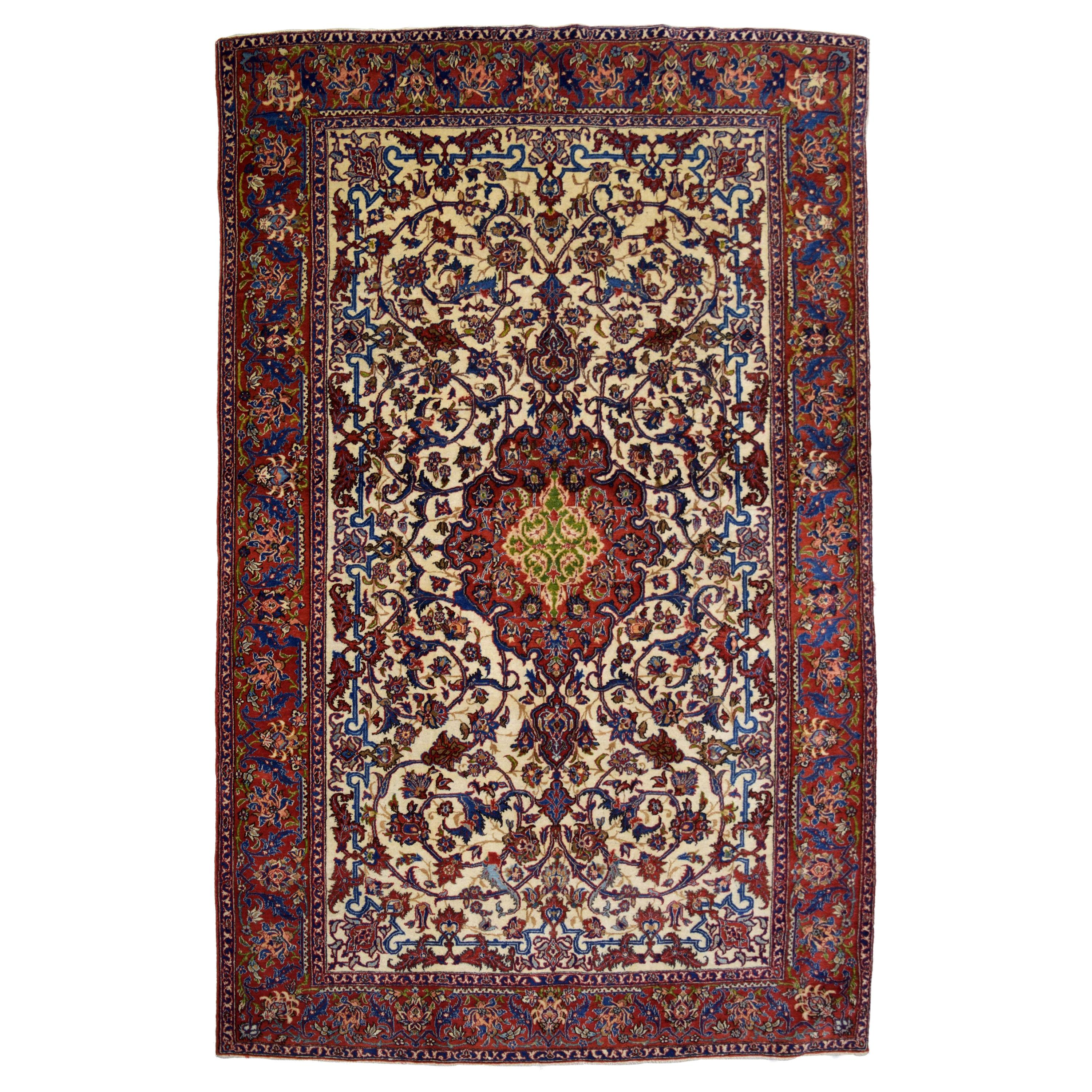 Fine Antique Persian Isfahan Carpet in Red, Cream, and Gold Wool