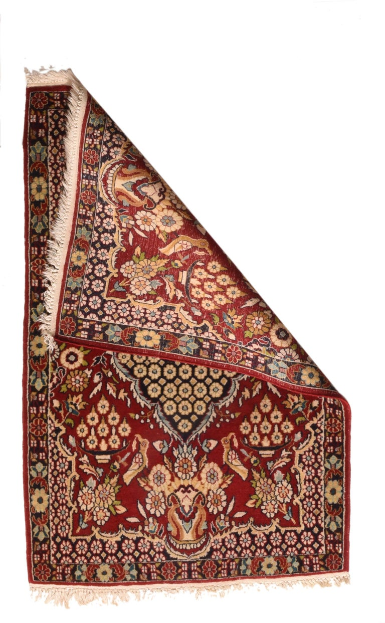 Hand-Knotted Fine Antique Persian Kashan Rug, Door Matt Size, Hand Knotted, circa 1920 For Sale