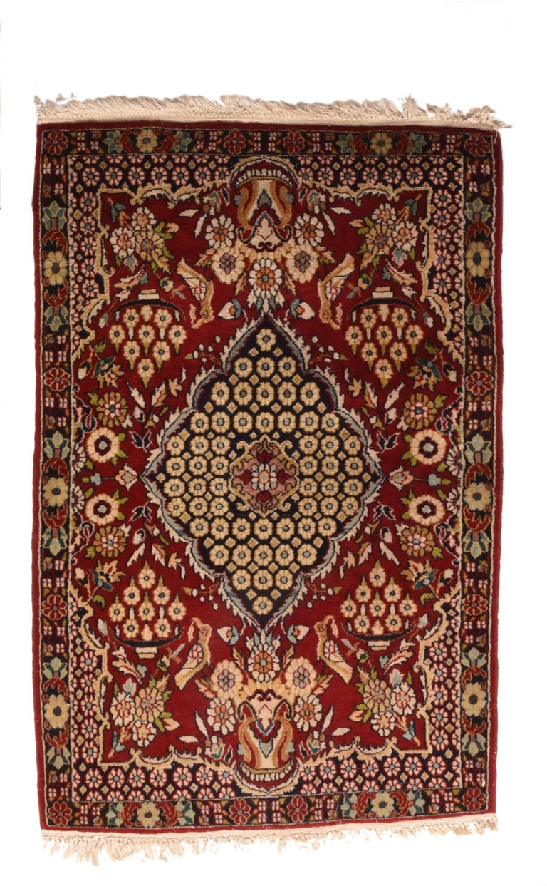 Fine Antique Persian Kashan Rug, Door Matt Size, Hand Knotted, circa 1920 In Excellent Condition For Sale In Chevy Chase, MD