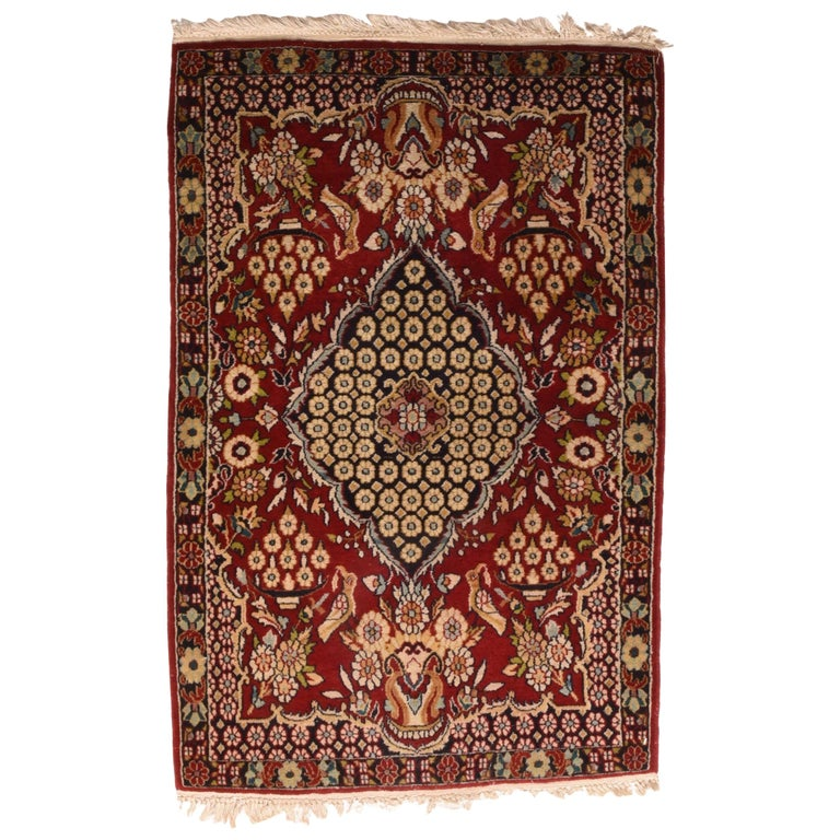 Fine Antique Persian Kashan Rug, Door Matt Size, Hand Knotted, circa 1920 For Sale