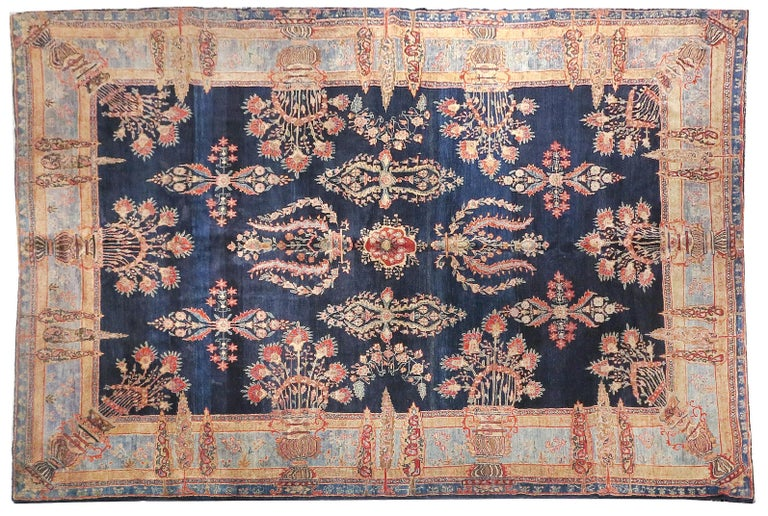Hand-Knotted Fine Antique Persian Rug Farahan Sarouk, Hand Knotted, circa 1910 For Sale