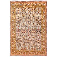 Fine Antique Persian Silk Heriz Rug. Size: 4 ft 9 in x 7 ft 2 in
