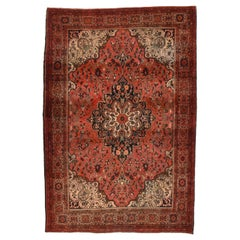 Fine Antique Red Farahan Sarouk Persian Rug, Hand Knotted, circa 1890