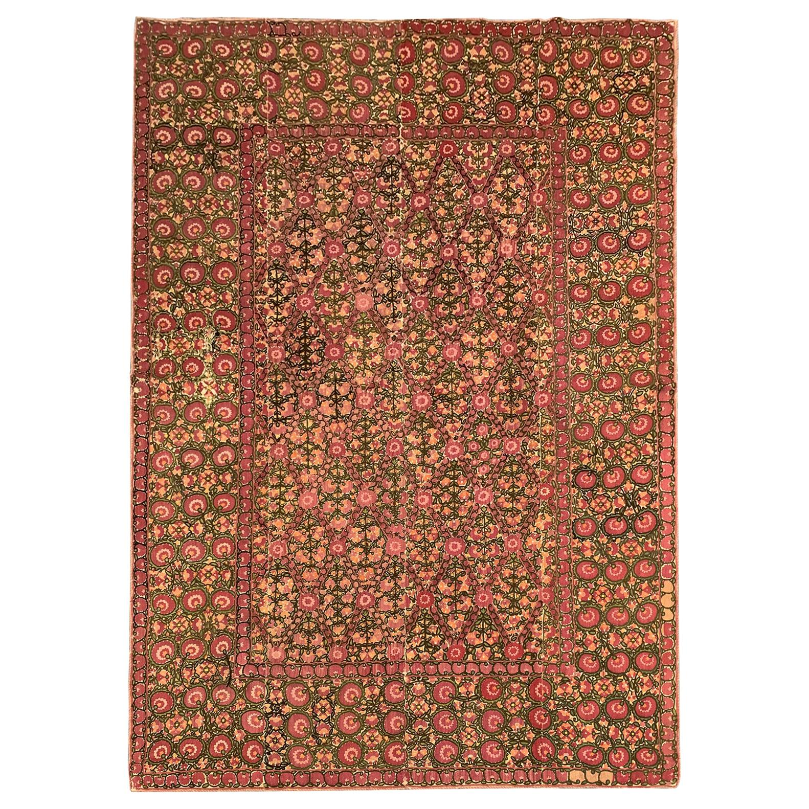 Fine Antique Rugs Handmade Bukhara Suzani Floral Embroidered Textile