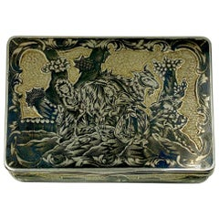 Fine Antique Russian Parcel Gilt Silver Niello Snuff Box, Moscow, 1820s