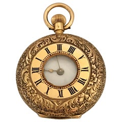 Fine Antique miniature 14k Gold Half Hunter Full Engraved Case Fob/ Pocket Watch