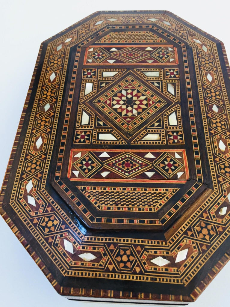 Fine Antique Syrian Micro Mosaic Mother Of Pearl Inlay Box