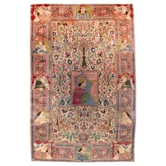Fine Antique Tabriz Pictorial Rug, Hand Knotted, circa 1920