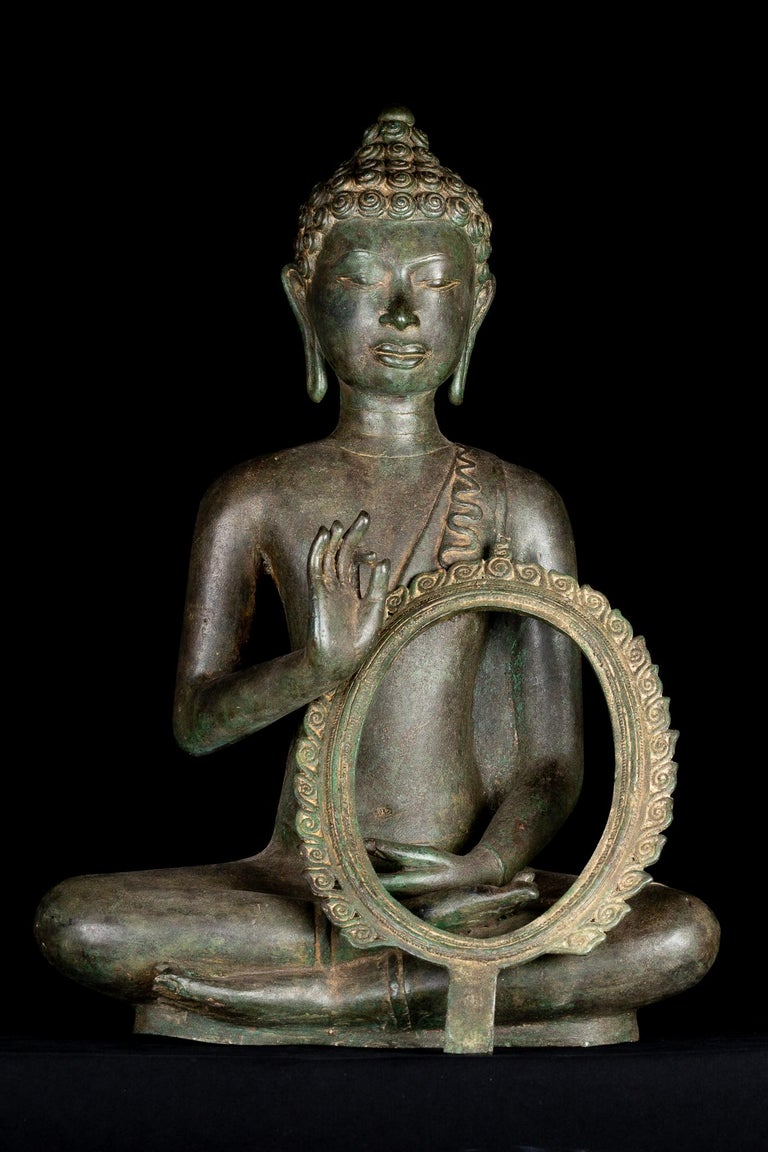 Fine Antique Teaching Buddha with Divine Halo Hand Cast Bronze, 19th Century For Sale 6