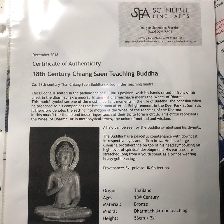 Fine Antique Teaching Buddha with Divine Halo Hand Cast Bronze, 19th Century For Sale 8