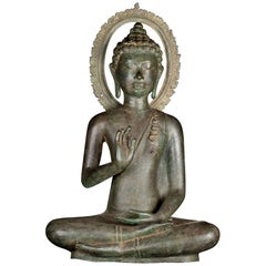 Fine Antique Teaching Buddha with Divine Halo Hand Cast Bronze, 19th Century