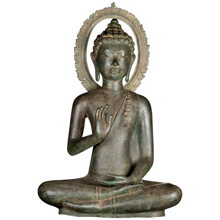 Fine Antique Teaching Buddha with Divine Halo Hand Cast Bronze, 19th Century For Sale
