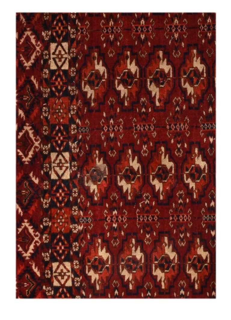 Fine antique Torkaman Russian rug, hand knotted, circa 1900