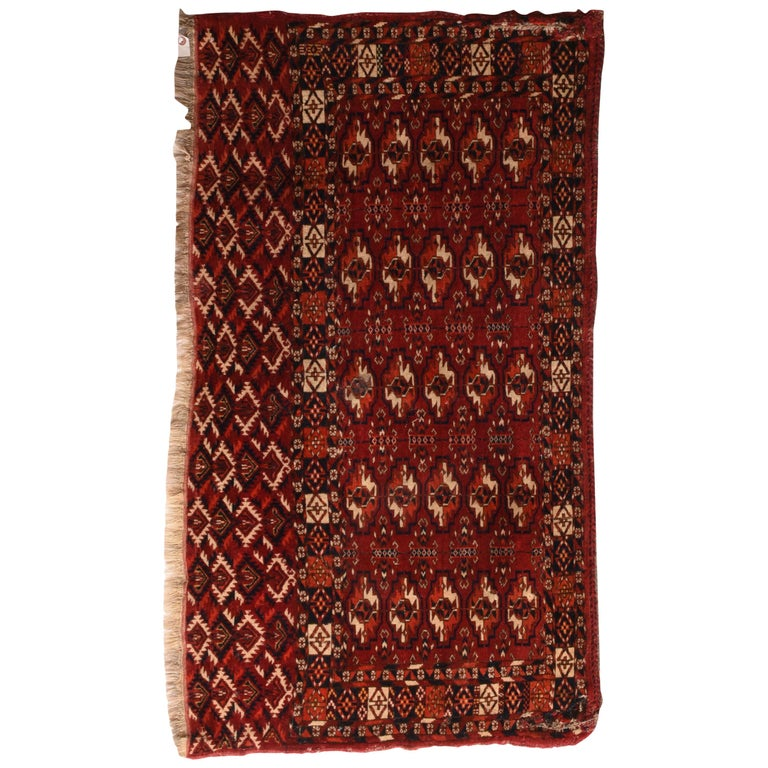 Fine Antique Torkaman-Turkmen Russian Rug, Hand Knotted, circa 1900 For Sale