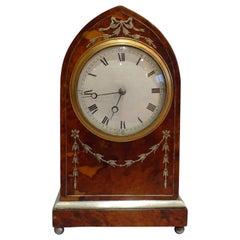 Fine Antique Tortoiseshell and Silver Inlaid Lancet Shaped Mantel Clock