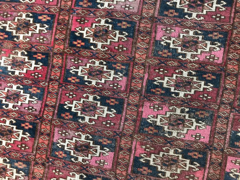 Hand-Knotted Fine Antique Turkmen Chuval Rug For Sale