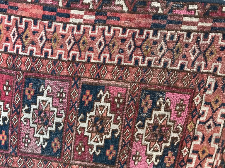 Wool Fine Antique Turkmen Chuval Rug For Sale