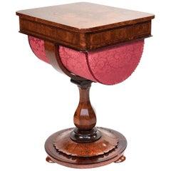 Fine Antique Victorian Burr Walnut Work Table