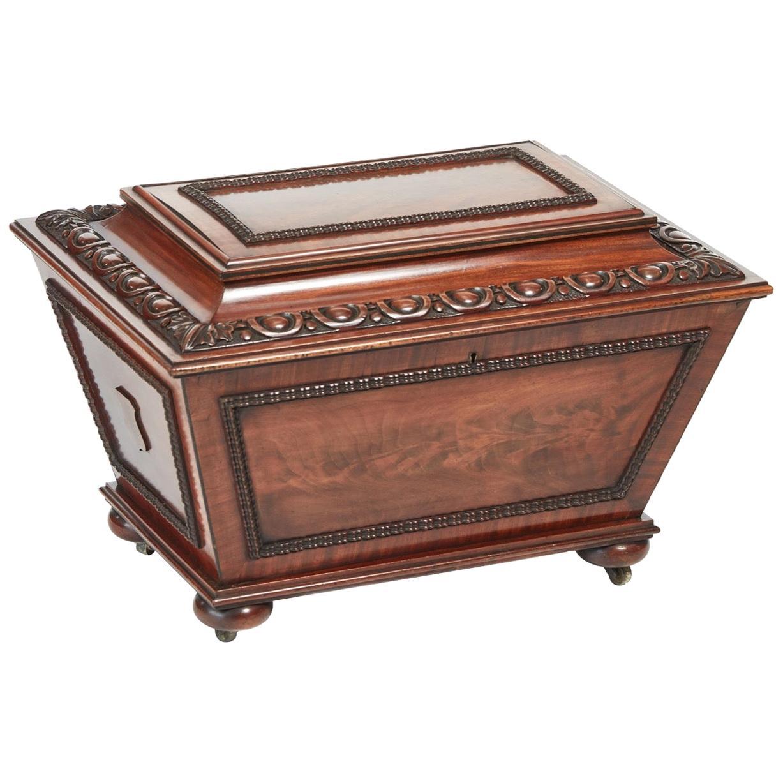 Fine Antique William IV Carved Mahogany Wine Cooler