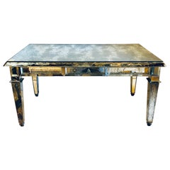 Fine Antiqued Mirror Glass Coffee Table in Hollywood Regency Style