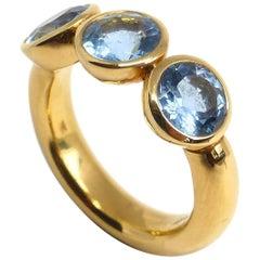 Fine Aquamarine 18 Karat Rose Gold Ring