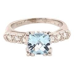 Diamond Aquamarine Ring 14k Gold 1.70 TCW Women Certified