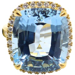 Leyser 18k Rose Gold Fine Aquamarine & Diamond Ring