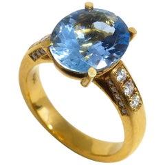 Leyser 18 Karat Rose Gold Aquamarine & Diamonds Ring