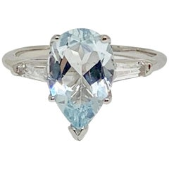 Fine Aquamarine and Topaz 14 Karat Large 3.10 Carat Ladies Ring Certified