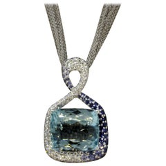 Fine Aquamarine Diamond Sapphire Gold Pendant Necklace