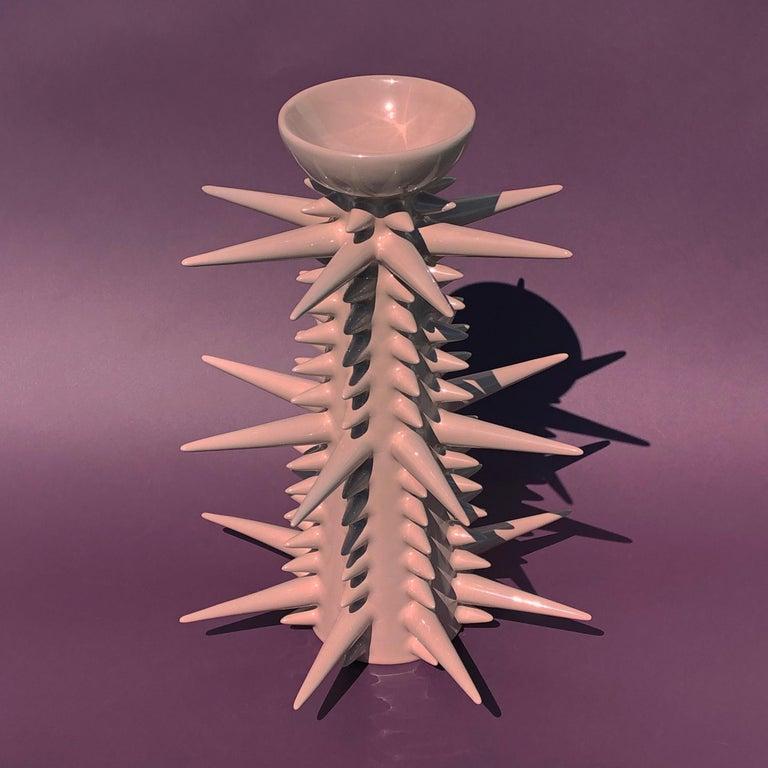 Contemporary Fine Art Ceramic Ceiba Candlestick Handmade Organic Modern Minimalist Style For Sale