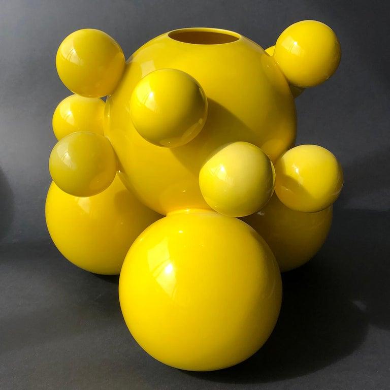 Mexican Fine Art Ceramic Huitlacoche Large Vase Handmade Organic Modern Minimalist Style For Sale