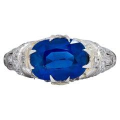 Feines Art Deco 2,94 Karat Kaschmir-Saphir Platin Diamantring AGL