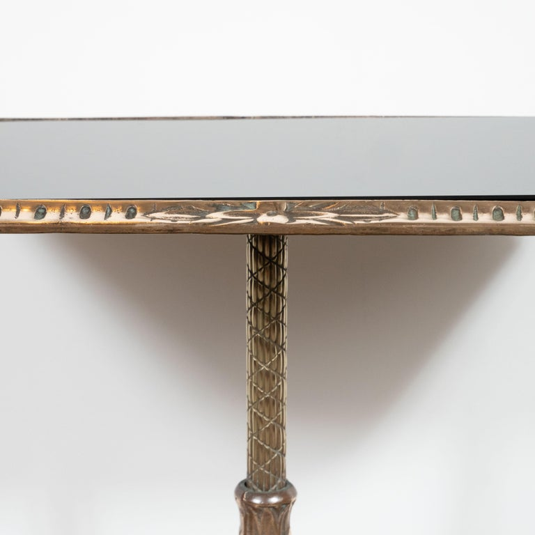American Fine Art Deco Antique Brass Drinks or Side Table with Inset Black Vitrolite Top For Sale