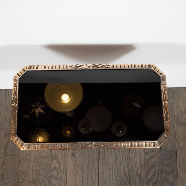 Fine Art Deco Antique Brass Drinks or Side Table with Inset Black Vitrolite Top In Excellent Condition For Sale In New York, NY