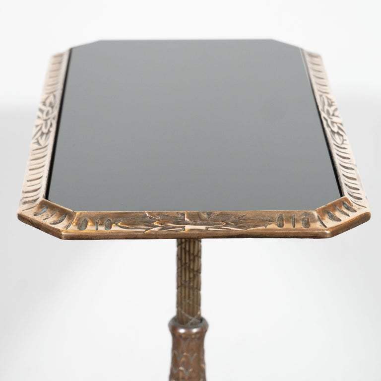 Fine Art Deco Antique Brass Drinks or Side Table with Inset Black Vitrolite Top For Sale 2