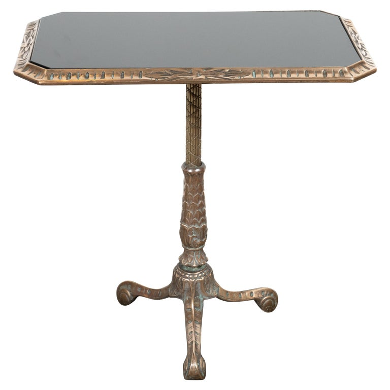Fine Art Deco Antique Brass Drinks or Side Table with Inset Black Vitrolite Top For Sale 3