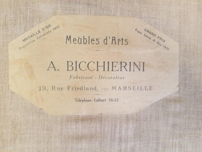 Fine original Art Deco Bergère Armchair by A. Bicchierini For Sale 3