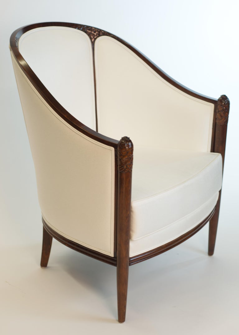 Antique original Fine Art Deco Bergère by A. Bicchierini was professionally restored, lacquered, and reupholstered. Original upholstery sticker is included in the sale.  About the Restorer:   Roman Erlikh is a professional woodworker with over 20