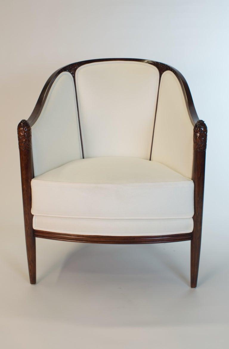 European Fine original Art Deco Bergère Armchair by A. Bicchierini For Sale